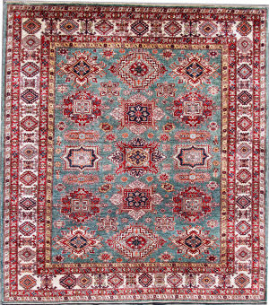Kashee Noor Kazak OAK Light Blue - Ivory Area Rug