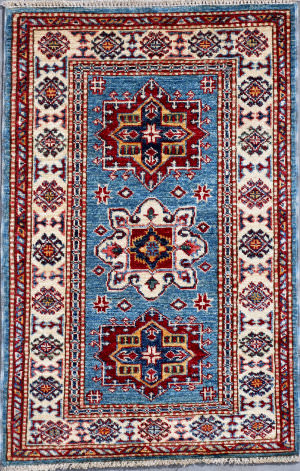 Kashee Royal Kazak OAK Light Blue - Ivory Area Rug