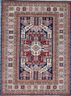Kashee Royal Kazak OAK Blue - Ivory Area Rug