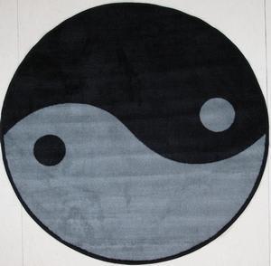 Fun Rugs Fun Time Shape Ying Yang FTS-152 Gray/Black Area Rug