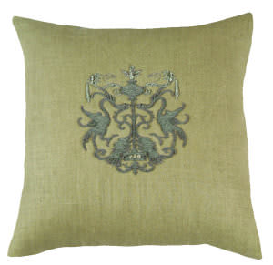 Lili Alessandra Crest Pillow L142 Natural