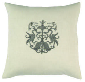 Lili Alessandra Crest Pillow L142 White