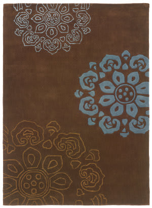 Linon Trio Tab324 Chocolate / Blue Area Rug