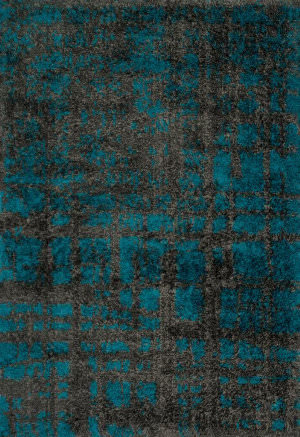 Loloi Barcelona Shag BS-10 Charcoal / Dark Teal Area Rug
