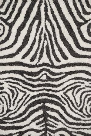 Loloi Kiara Shag Kr-01 Ivory - Charcoal Area Rug