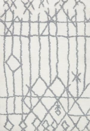 Loloi Tangier Shag Tg-05 White - Slate Area Rug