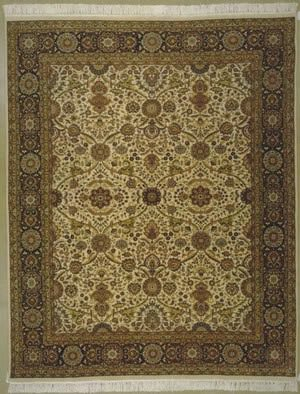 Lotfy and Sons Prestige Kashan Ivory/Dark Blue Area Rug