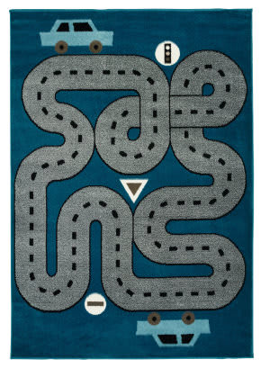 Lr Resources Whimsical 81267 Slate Blue - Light Blue Area Rug