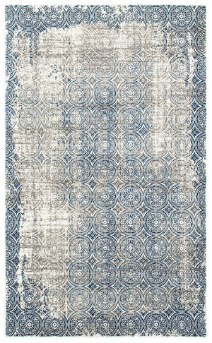 Lr Resources Adana 80384 White - Soft Blue Area Rug