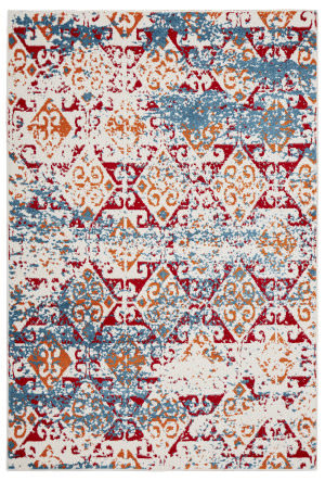 Lr Resources Fusion 81353 White - Blue Area Rug