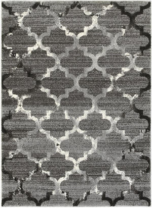 Lr Resources Soft Shag 81164 White - Light Gray Area Rug