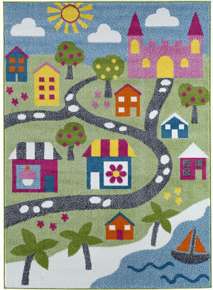 Lr Resources Whimsical 81281 Green - Blue Area Rug