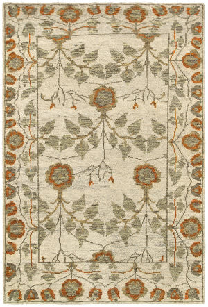 LR Resources Oushak Lr04422 Natural / Rust Area Rug