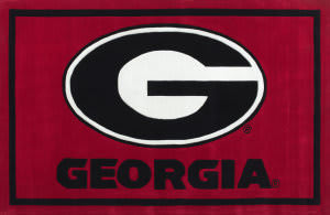 Luxury Sports Rugs Team University of Georgia Red Area Rug