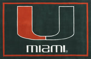 Luxury Sports Rugs Team University of Miami Green