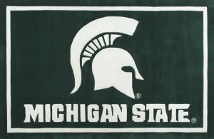 Luxury Sports Rugs Tufted Michigan State University Green