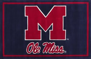 Luxury Sports Rugs Team Ole Miss Navy Area Rug