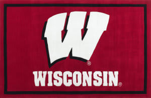 Luxury Sports Rugs Tufted University of Wisconsin Red