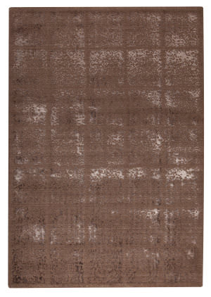 Mat Orange Subtle Squares Brown Area Rug
