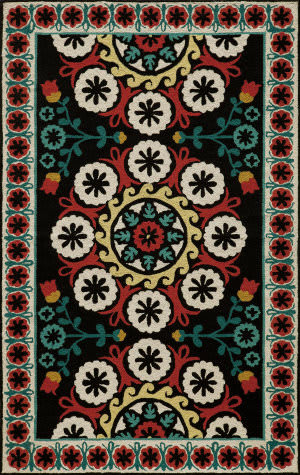 Momeni Suzani Hook Szi-2 Black Area Rug