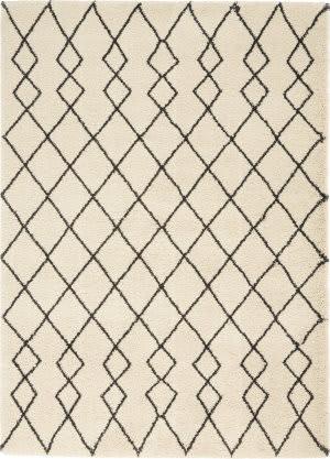 Nourison Geometric Shag Gos01 Ivory - Charcoal Area Rug
