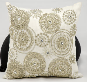 Nourison Pillows Luminescence At186 Light Gold