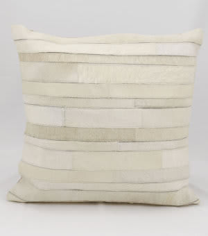 Nourison Pillows Natural Leather Hide C2100 Ivory