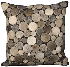 Nourison Pillows Natural Leather Hide C2300 Silver