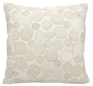 Nourison Natural Leather And Hide Pillow C2300 White