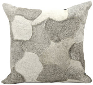 Nourison Natural Leather And Hide Pillow C4600 Silver