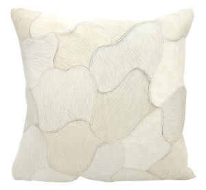 Nourison Natural Leather And Hide Pillow C4600 White
