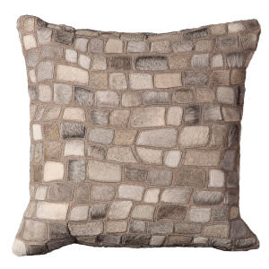 Nourison Pillows Natural Leather Hide C5500 Silver