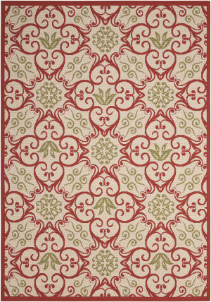 Nourison Caribbean Crb02 Ivory - Rust Area Rug