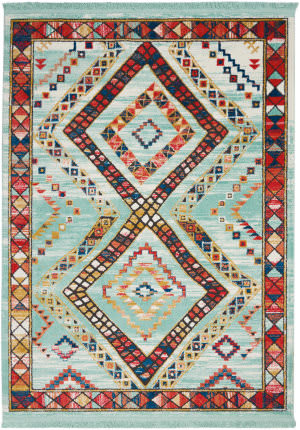 Nourison Tribal Decor Trl02 Aqua Area Rug