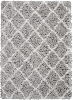 Nourison Ultra Plush Shag Ulp02 Grey - Ivory Area Rug