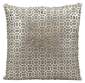 Nourison Pillows Laser Cut Es010 Silver White