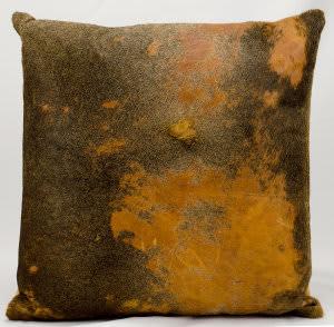 Nourison Pillows Natural Leather Hide Ik010 Orange