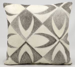 Nourison Natural Leather And Hide Pillow Jh261 Grey