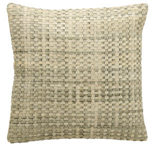 Nourison Pillows Natural Leather Hide Jh263 Silver White