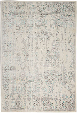 Kathy Ireland Silver Screen Ki343 Ivory - Teal Area Rug