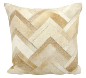 Nourison Natural Leather And Hide Pillow M1217 Beige