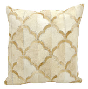 Nourison Natural Leather And Hide Pillow M1237 Beige