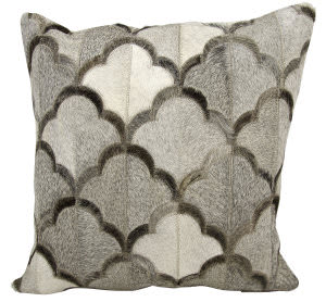 Nourison Natural Leather And Hide Pillow M1237 Grey