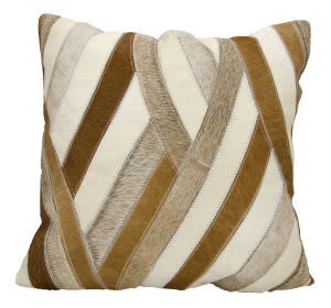 Nourison Natural Leather And Hide Pillow M1243 Amber Beige