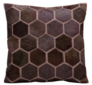 Nourison Pillows Natural Leather Hide M916 Lilac