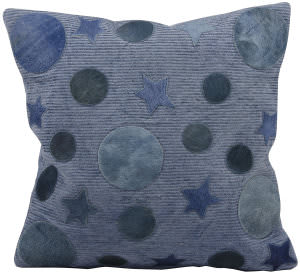 Nourison Pillows Natural Leather Hide M917 Blue