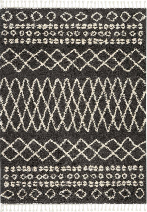 Nourison Moroccan Shag Mrs02 Charcoal Area Rug