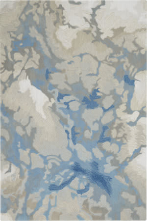 Nourison Symmetry Smm07 Light Blue - Ivory Area Rug