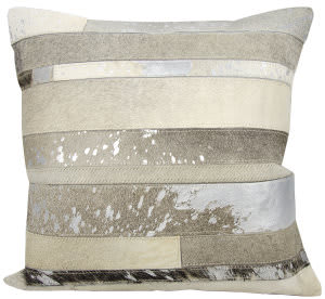 Nourison Natural Leather And Hide Pillow S1160 Silver Grey