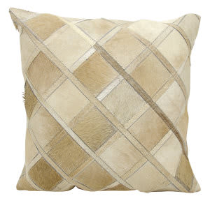 Nourison Natural Leather And Hide Pillow S1894 Beige